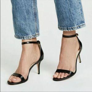 SAM EDELMAN Black Leather Patti Heels